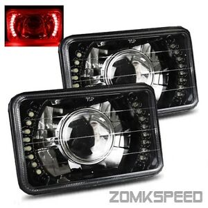 4x6 H4651 H4656 Semi Sealed Beam Red Led Black Crystal Projector Headlights