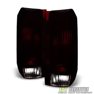 Red Smoke 1987 1996 Ford F150 F250 Bronco Tail Lights Brake Lamps Set Left right