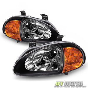 2in1 Blk Jdm 1993 1997 Honda Civic Del Sol Headlights W Corner Lamps Left Right