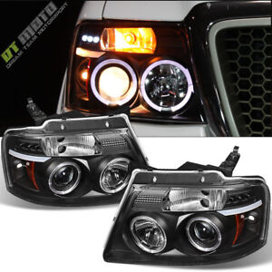 2004 2008 Ford F150 F 150 Halo Led Projector Black Headlights Headlamp Set 04 08