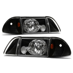 Black 1987 1993 Ford Mustang Headlights W Corner Signal Lights Parking Lamps Set