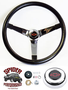 1948 1959 Chevy Pickup Steering Wheel Red Bowtie 13 1 2 Vintage Chrome Grant