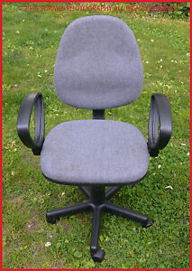 Gray Fabric High Back Desk Office Computer Chair Adjustable With Arms