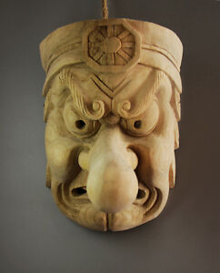 23 15 18cm Hand Carved Wood Japanese Noh Tengu Monster Mask