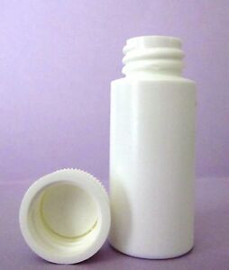 1 Oz Hdpe Cylinder Round Plastic Bottles W screw on Caps lot Of 100