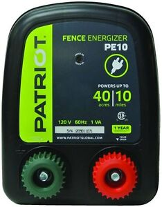 Patriot Pe10 Electric 110v ac Fencer 10 Mile 40 Acre Fence Energizer Charger