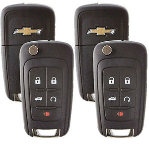 2 New Flip Key Keyless Entry Remotes For Chevrolet 5 Button With Remote Start