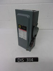 Square D 240 Volt 60 Amp Fused Disconnect Safety Switch dis3114