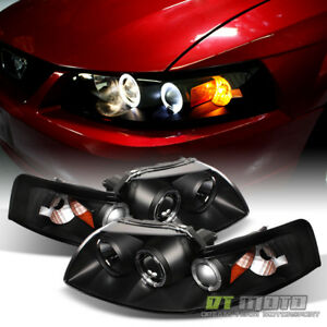 Blk 1999 2004 Ford Mustang Gt Svt Cobra Led Halo Projector Headlights Headlamps