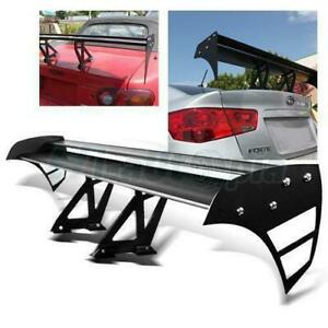 Adjustable Universal 52 Aluminum Gt Double Deck Racing F1 Spoiler Wing Black
