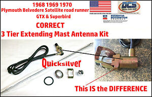 68 69 70 Satellite Road Runner Gtx Antenna Extending Mast Complete Correct Kit