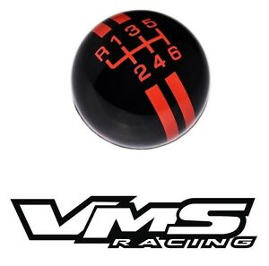 Vms Black Red Rally Stripe Shift Knob 6 Speed Shifter Lever Flaming Mustang 15