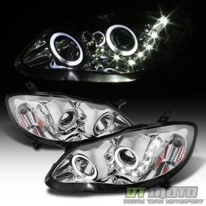 For 2003 2008 Toyota Corolla Led Halo Projector Headlights Headlamps Left Right