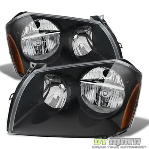 Black 05 07 Dodge Magnum Headlights Lamps Pair Left Right 2005 2007 Headlamps
