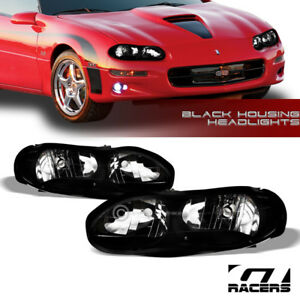 For 1998 2002 Chevy Camaro Oe Style Black Clear Housing Headlights Lamps Pair Nb