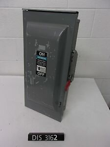 Siemens 240 Volt 100 Amp Fused Disconnect Safety Switch dis3162