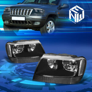 Fit 1999 2004 Jeep Grand Cherokee Wj Black Clear Corner Housing Headlight