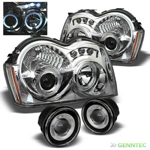 For 05 07 Jeep Grand Cherokee Led Projector Headlights Halo Projector Fog Lamp
