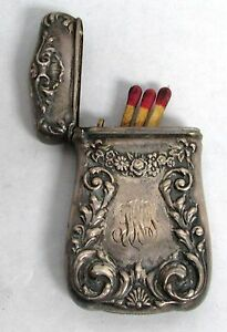 Antique Watson Comp Mass Sterling Silver Match Safe With 5 Antique Matches