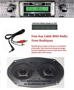 1955 Ford Thunderbird Stereo Radio Free Aux Cable Included Dash Speakers 230