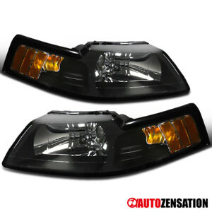 1999 2004 Ford Mustang Cobra Black Headlights Clear Pair Lamps W amber Reflector