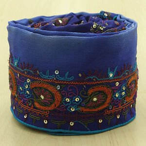 Vintage Saree Border Indian Wrap Used Ribbon Embroidered Sewing Blue Trim 1yd