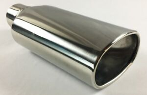 Exhaust Tip 5 50 X 3 5 Dia Od Oval 12 00 Long 2 50 Inlet Double Wall Stainless
