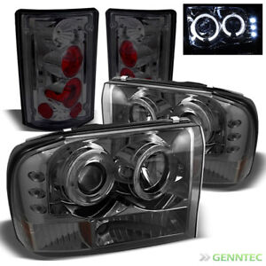 For 00 04 Excursion Smoked 1pc Halo Pro Headlights Altezza Style Tail Lights