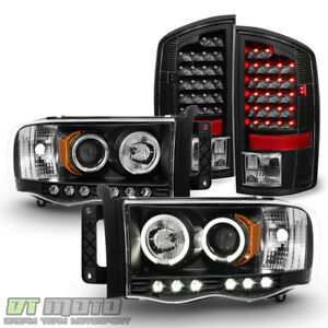 Black 2002 2005 Dodge Ram 1500 2500 3500 Projector Headlights led Tail Lights