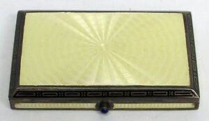 Outstanding Vintage Sterling Silver Yellow Guilloche Enamel Rectangular Box