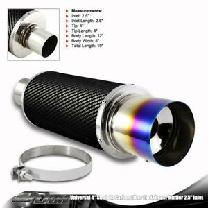 4 N1 Blue Burnt Tip Carbon Fiber Wrap Body Weld Muffler W 2 5 Inlet silencer