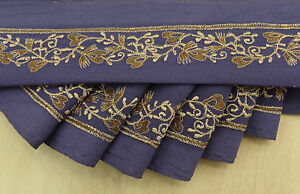 Vintage Saree Border Indian Wrap Trim Blue Embroidered Sewing 1yd Used Ribbon