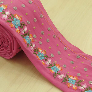 Vintage Saree Border Indian Embroidered Wrap Pink Ribbon Used Trim Sewing 1yd
