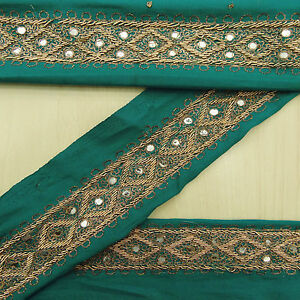 Vintage Saree Border Indian Sari Hand Beaded Green 1yd Trim Sewing Used Lace