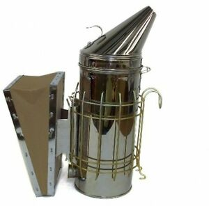 New Large Bee Hive Smoker Stainless Steel W heat Shield Beekeeping Equipment By