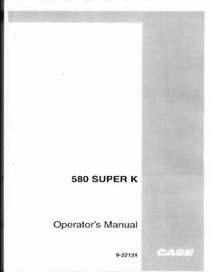 Case 580 Super K Backhoe Operators Manual Australia Sk