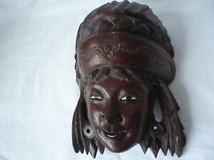 Old Oriental Chinese Wooden Hand Carved Lady Woman Mask