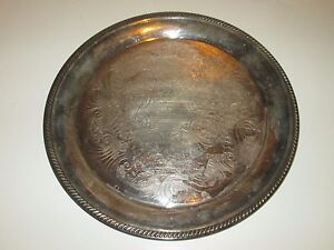 Vintage Round Silver Platter Tray With Scrollwork Silverplate 12 5