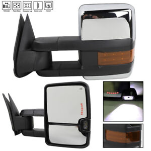 Power Heated Chrome Towing Mirrors Set For 99 02 Chevy Silverado Gmc Sierra New