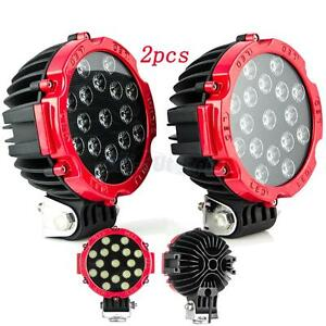 2x 7 51w Led Light Driving For Jeep 4x4 Stop Beam Offroad Truck Round Red