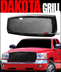 For 2005 2007 Dodge Dakota Black Luxury Mesh Front Bumper Grill Grille Guard Abs