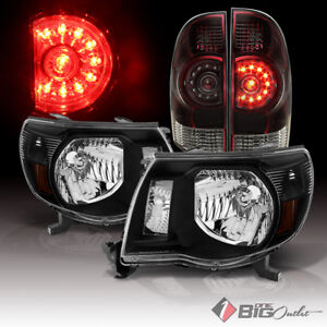 05 11 Tacoma Black Headlights Tinted Smoke Red Tail Lights Assembly L r