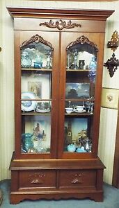 Old Antique Large 7 Tall Victorian Walnut Double Door Bookcase W Two Drawers