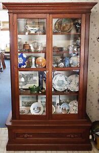 Old Antique Large 7 Tall Victorian Walnut Double Door Bookcase W Drawer