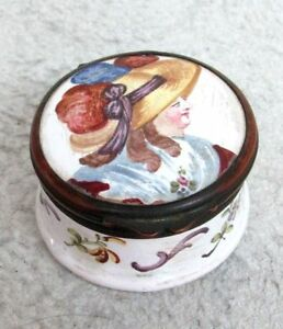 Very Nice Early 19th Century Hand Painted Ceramic Bronze Pill Box