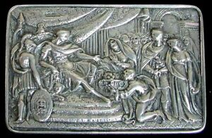 1813 London Sterling Silver Georgian Rectangle Snuff Box Imperial Roman Scene