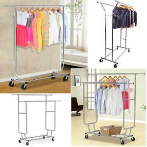 Heavy Duty Clothing Garment Collapsible Salesman Rolling Rack Hanger Chrome