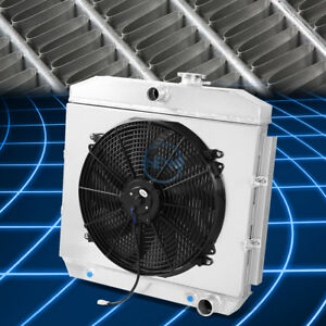 For 55 57 Chevy Nomad 3 Row Aluminum Radiator Cooling Fan Shroud Replacement