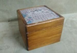 Vintage Handmade Wooden Box Keepsake Sewing Padded Top Solid Beehive