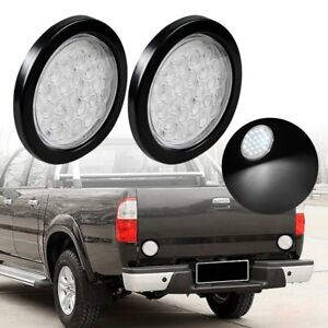2x 4 Inch Round 24 Led Truck Trailer Tail Light Reverse Backup Lamp Clear White